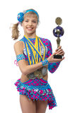 Beautiful young girl gymnast with a cup in hands Royalty Free Stock Photography