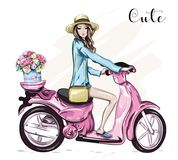Beautiful young girl in hat with cute pink scooter. Girl scooter with flower box. Sketch. Vector illustration stock illustration