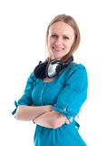 Beautiful young girl with headphones Royalty Free Stock Images