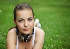 Beautiful young girl with headphones Stock Photography