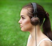 Beautiful young girl with headphones Stock Photo
