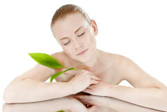 Beautiful young girl with a healthy and well-groomed complexion. Spy beauty skin treatment woman. Healthy lifestyle concept stock image