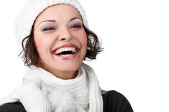 Beautiful young girl in her winter warm clothing Stock Images
