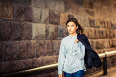 Beautiful young girl hipster goes Stock Photos