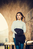 Beautiful young girl hipster standing Stock Images