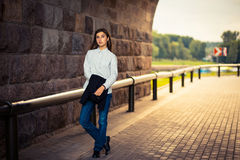 Beautiful young girl hipster standing Stock Photography