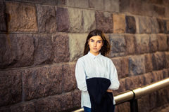 Beautiful young girl hipster standing Royalty Free Stock Photo