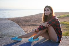 Beautiful young girl hipster style. Portrait outdoors Stock Photos