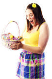 Beautiful young girl holding basket Royalty Free Stock Images