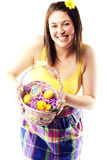 Beautiful young girl holding basket of eggs Royalty Free Stock Images