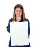 Beautiful young girl holding a blank poster for advertising Royalty Free Stock Photography