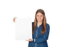 Beautiful young girl holding a blank poster for advertising Stock Photo
