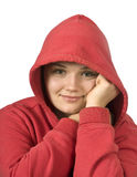 Beautiful young girl in a hood Stock Photography