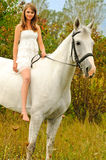 Beautiful young girl and horse Royalty Free Stock Image