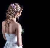 Beautiful young girl in the image of the bride, beautiful wedding hairstyle Stock Image
