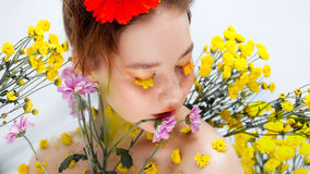 Beautiful young girl in the image of flora, close-up portrait stock photos