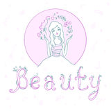 Beautiful young girl with inscription Beauty. Vector illustratio Royalty Free Stock Photography