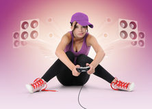 Beautiful young girl with joystick Royalty Free Stock Images