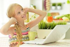 The girl in the kitchen. Beautiful young girl in kitchen with laptop Royalty Free Stock Photography
