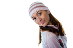 A beautiful young girl in a knitted clothes Stock Photo