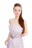 Beautiful young girl in a lilac dress Stock Image