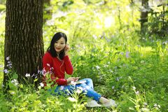 Beautiful young girl Listen to music on a mobile phone while sitting under giant oak. Asian chinese Woman Listen to music on a mobile phone with Sunshine at stock images