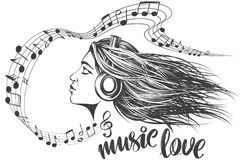Beautiful young girl listening to music on headphones, musical notes love music, calligraphy text hand drawn vector. Musical notes in the form of a heart icon vector illustration