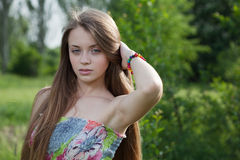 Beautiful young girl with long blod hair Royalty Free Stock Images