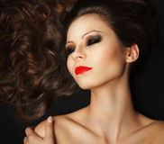 Beautiful young girl with long brown hair Royalty Free Stock Photo