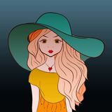 Beautiful young girl with long magnificent hair in a big summer vector illustration