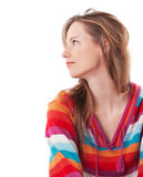 Beautiful young girl looking away. On white background Royalty Free Stock Photo