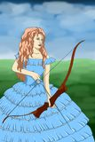 Beautiful young girl in the lush dress archery outdoors smiling  Royalty Free Stock Image