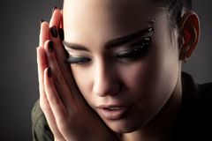 Beautiful young girl with luxury lashes Royalty Free Stock Photo