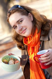 Beautiful young girl with macaroons Royalty Free Stock Images