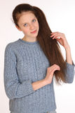 Beautiful young girl with magnificent hair. Royalty Free Stock Photography