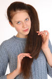 Beautiful young girl with magnificent hair. Stock Images