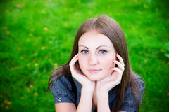 Beautiful young girl in meadow Royalty Free Stock Photos