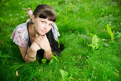 Beautiful young girl in meadow Stock Photography