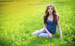 Beautiful young girl in meadow Stock Image