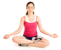 Beautiful Young Girl Meditating Royalty Free Stock Images