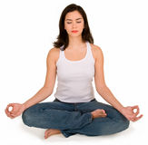 Beautiful Young Girl Meditating Stock Images