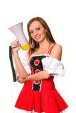 Beautiful young girl with megaphone Stock Image