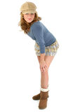 Beautiful Young Girl in Mini Skirt and Sweater stock photography
