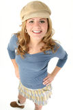 Beautiful Young Girl in Mini Skirt and Sweater Royalty Free Stock Photos