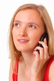 Beautiful young girl with mobile phone Royalty Free Stock Photos