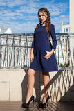 Beautiful young girl model on the background of the urban landsc. Ape, hair, dark blue dress, makeup, closeup Royalty Free Stock Photography