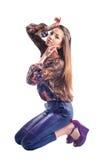 Beautiful Young Girl model posing isolated stock photos