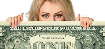 Beautiful young girl with the money Stock Images