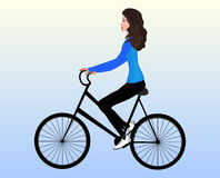 Beautiful young girl on a mountain bike, vector illustration Stock Photography