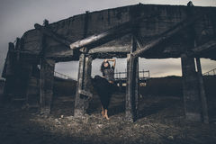 Beautiful Young Girl On The Background Of The Dam In A Dried Up Stock Image